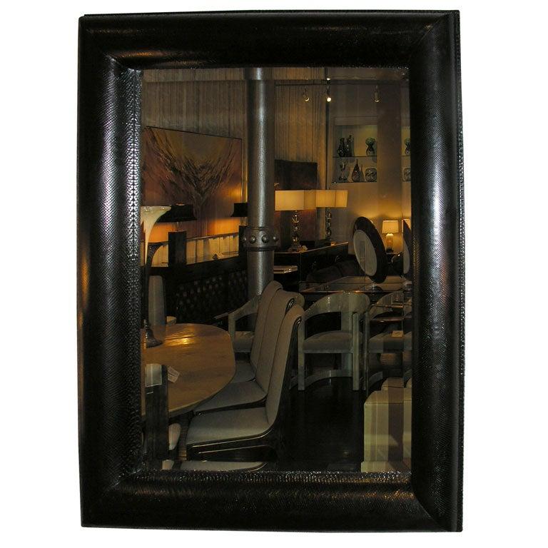Large mirror with frame in black cobra by karl springer at for Large black framed mirror