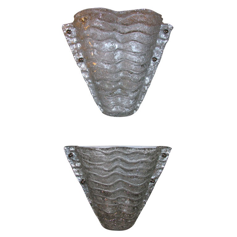 Large Glass Wall Sconces : Large Pair of Murano Glass Wall Sconces at 1stdibs