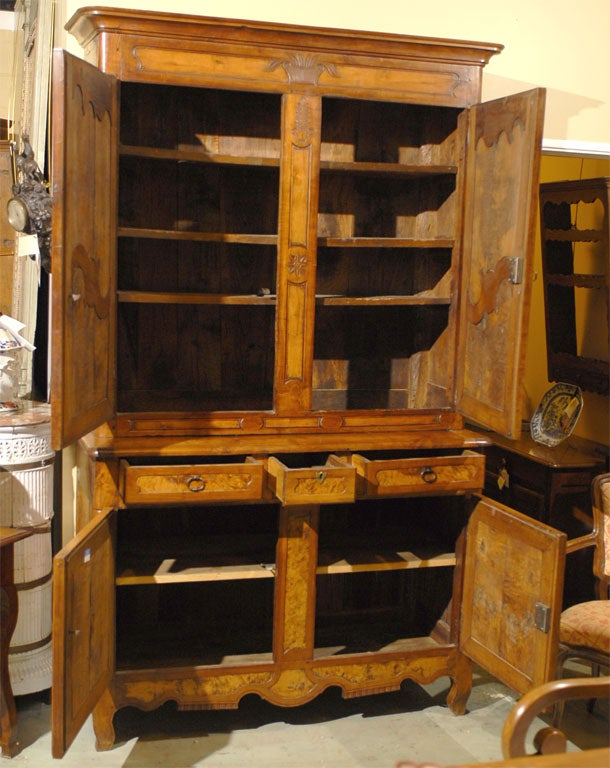 Louis XV Period Buffet Deux Corps in Burl Ash and Cherry, circa 1760 For Sale 1