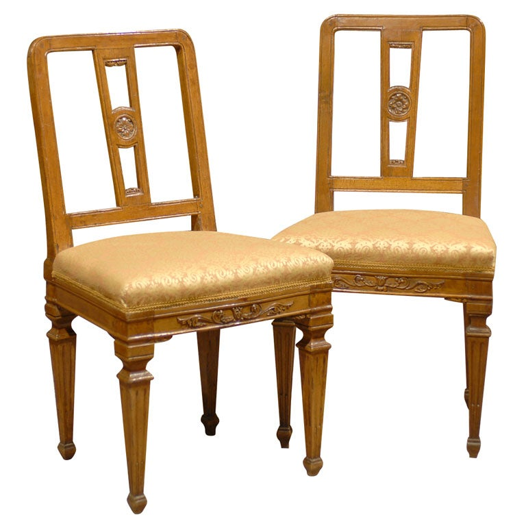 Pair of Neoclassical Side Chairs in Walnut, Italy c. 1780