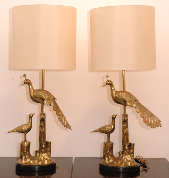Solid Brass Peacock Table Lamp With Ebony Stained Wood Base And New Silk  Lampshade. Lamp
