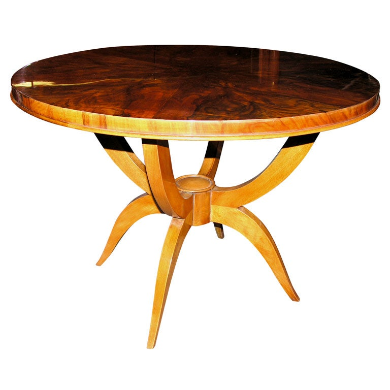 Round Walnut Art Deco Coffee Table At 1stdibs