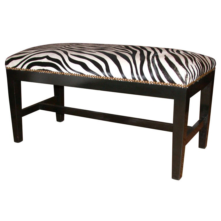 Zebra Bench With Stamped Cowhide And Ebonized Walnut At 1stdibs