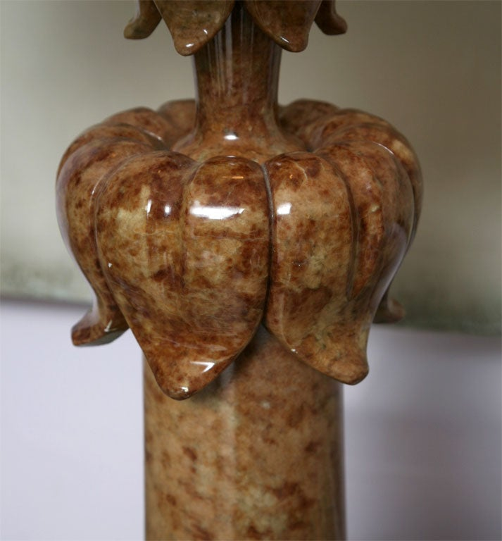 French Alabaster Table Lamp Stunning Carved Elegant Dark beche, Finial Alabaster Also For Sale