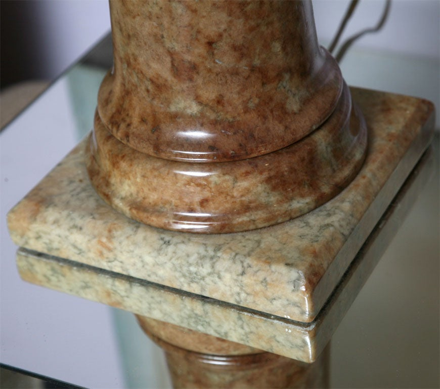 Alabaster Table Lamp Stunning Carved Elegant Dark beche, Finial Alabaster Also In Excellent Condition For Sale In Miami, Miami Design District, FL