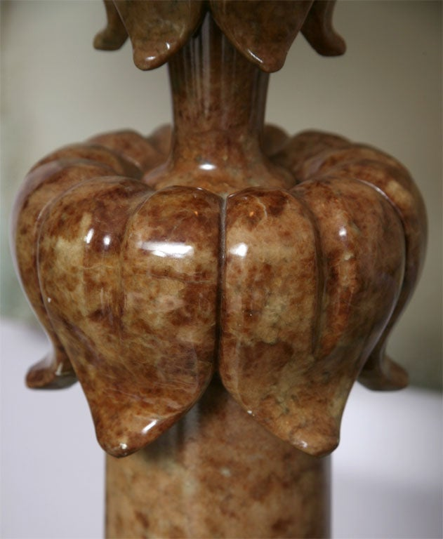 Alabaster Table Lamp Stunning Carved Elegant Dark beche, Finial Alabaster Also For Sale 1