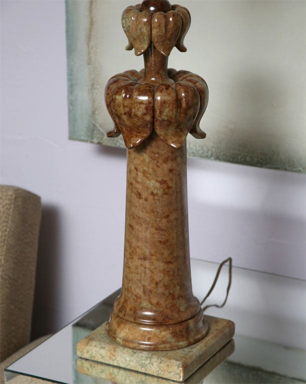 Alabaster Table Lamp Stunning Carved Elegant Dark beche, Finial Alabaster Also For Sale 4