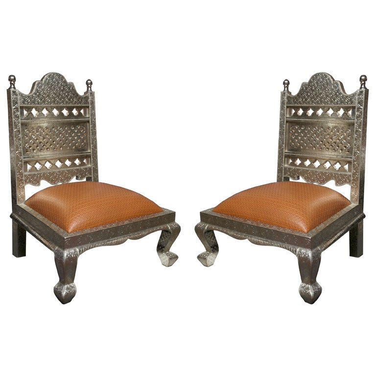 PR/ ANGLO-INDIAN SILVER REPOUSSE CHAIRS at 1stdibs