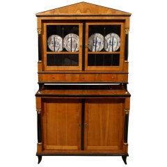 Biedermeier Vitrine Cabinet in Fruitwood & Ebonized Detail, Germany, circa 1825