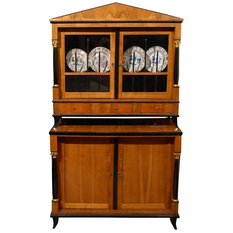Biedermeier vitrine cabinet in fruitwood and ebonized for Furniture 1825