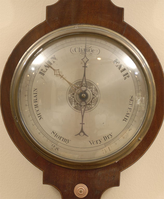 English George III  Banjo Mahogany Barometer by R. Taylor, Chepstow, England c. 1820 For Sale