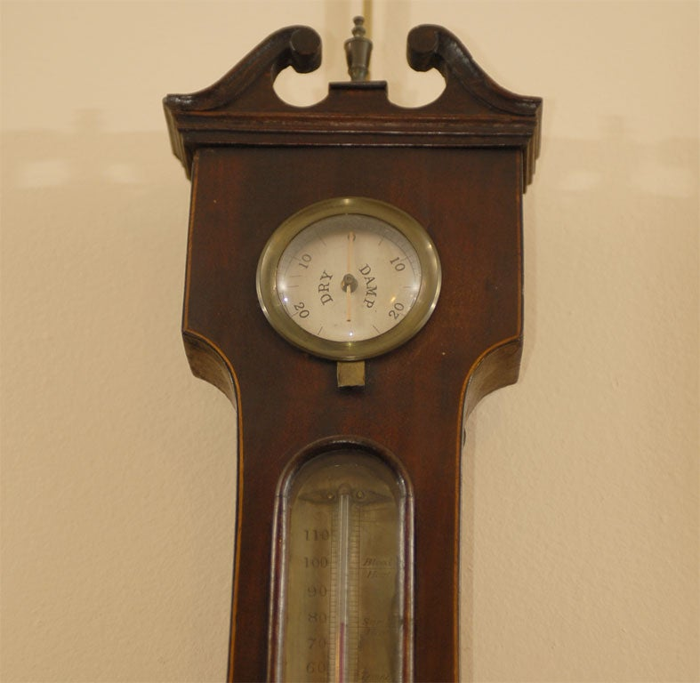 19th Century George III  Banjo Mahogany Barometer by R. Taylor, Chepstow, England c. 1820 For Sale