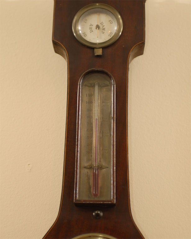 Brass George III  Banjo Mahogany Barometer by R. Taylor, Chepstow, England c. 1820 For Sale