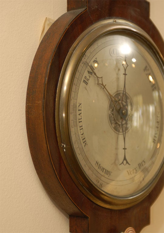 George III  Banjo Mahogany Barometer by R. Taylor, Chepstow, England c. 1820 For Sale 1