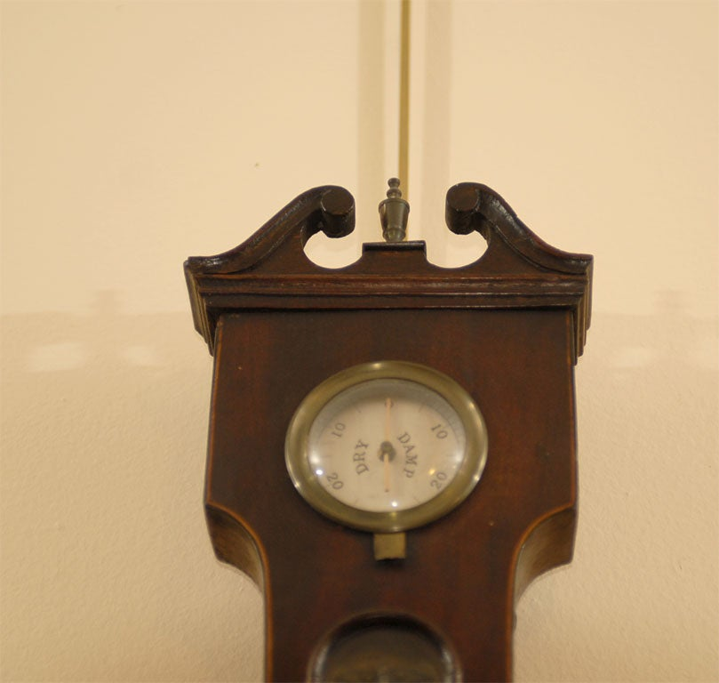 George III  Banjo Mahogany Barometer by R. Taylor, Chepstow, England c. 1820 For Sale 2