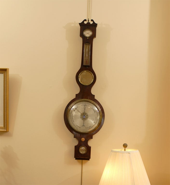 George III  Banjo Mahogany Barometer by R. Taylor, Chepstow, England c. 1820 For Sale 3
