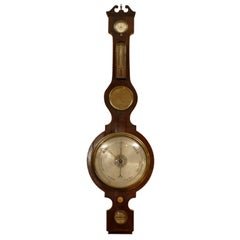 George III  Banjo Mahogany Barometer by R. Taylor, Chepstow, England c. 1820