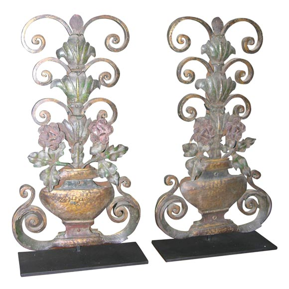 Pair Of Wrought Iron Appliques At 1stdibs
