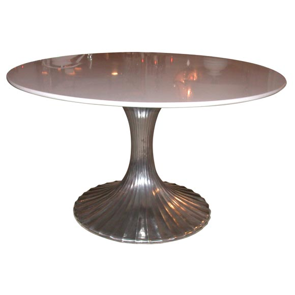 Round aluminum base dining table with white granite top at for Granite dining table
