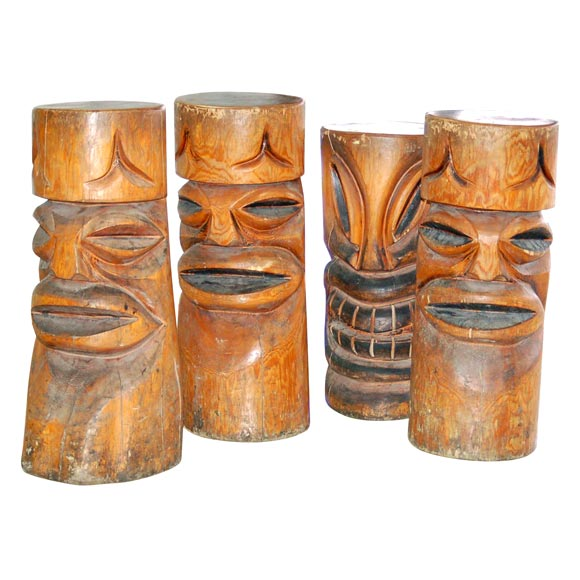 INCREDIBLE TIKI BARSTOOLS at 1stdibs