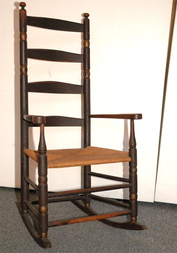 18THC NEW ENGLAND LADDER BACK ROCKING CHAIR IN ORIGINAL PAINT image 2