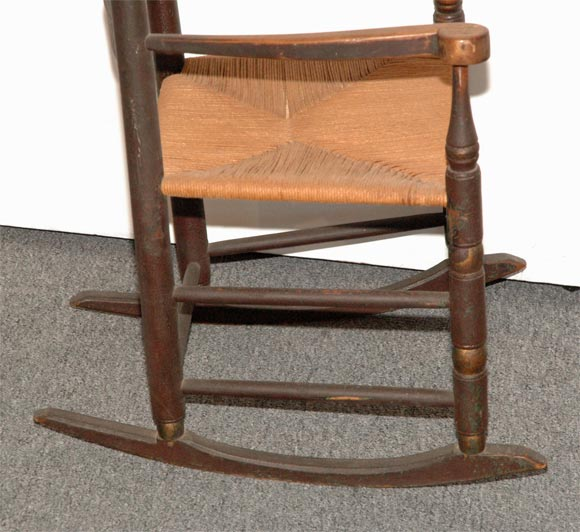 18THC NEW ENGLAND LADDER BACK ROCKING CHAIR IN ORIGINAL PAINT image 5