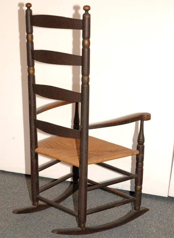 This 18THC NEW ENGLAND LADDER BACK ROCKING CHAIR IN ORIGINAL PAINT is ...
