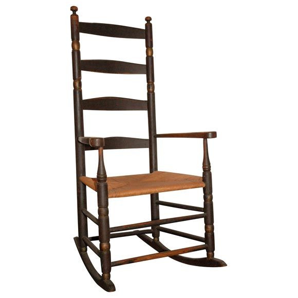18THC NEW ENGLAND LADDER BACK ROCKING CHAIR IN ORIGINAL PAINT at ...