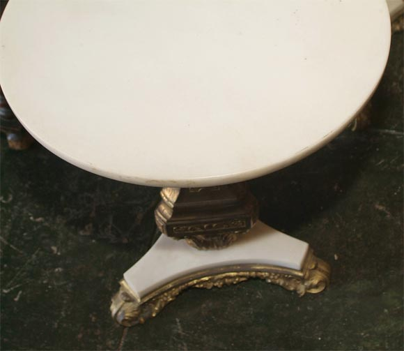 European Pair of Bronze and Marble Tables For Sale