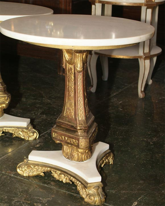19th Century Pair of Bronze and Marble Tables For Sale