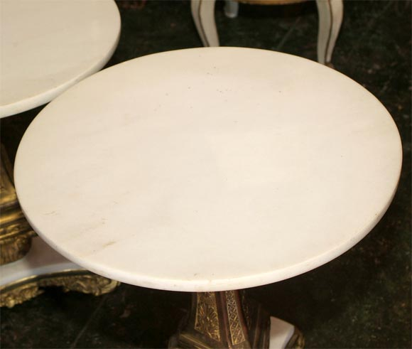 Pair of Bronze and Marble Tables For Sale 2