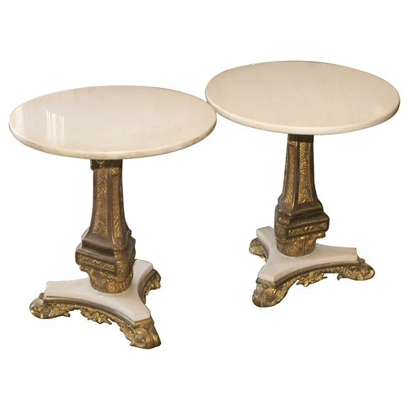 Pair of Bronze and Marble Tables For Sale