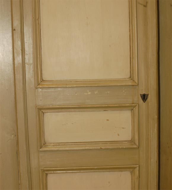 19th Century French Three-Door Painted Cupboard For Sale 4