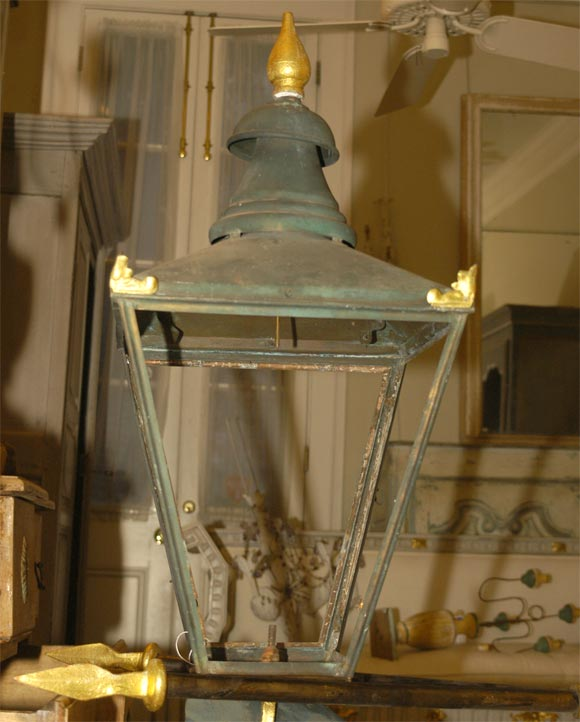 19th Century French Corner Lantern Single Light or Can Be for Gas For Sale 2