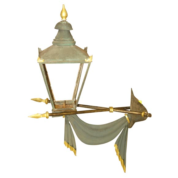 19th Century French Corner Lantern Single Light or Can Be for Gas For Sale