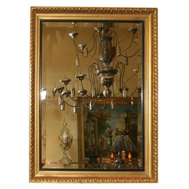 Giltwood Framed Beveled Mirror For Sale