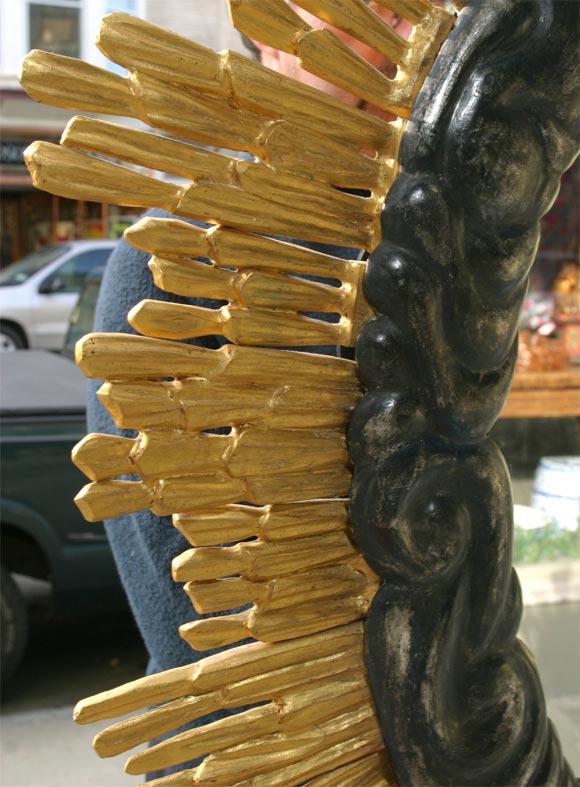 Carved Sunburst Mirror For Sale