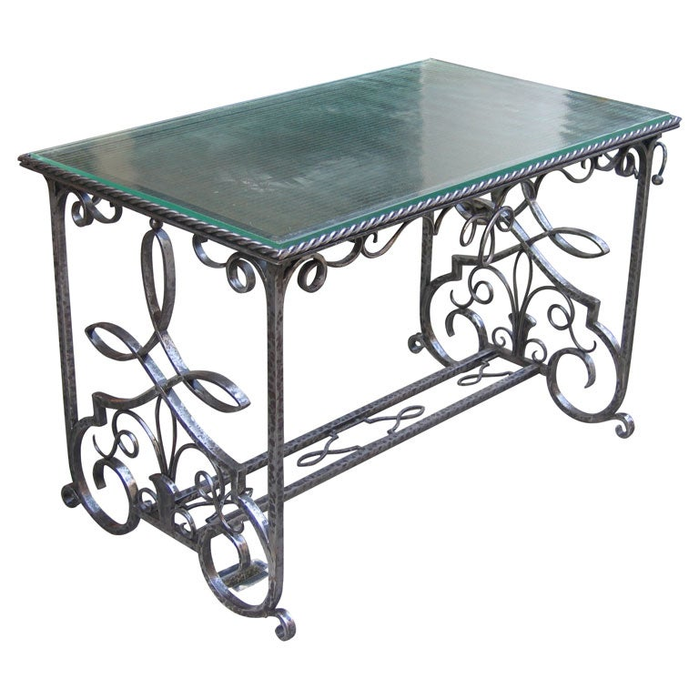 1930 Wrought Iron Coffee Table With Saint Gobain Glass Top At 1stdibs