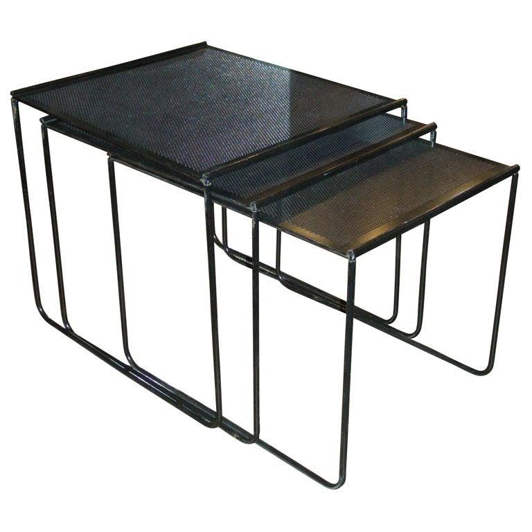 Metal Nesting Tables ~ Three s black metal nesting tables at stdibs