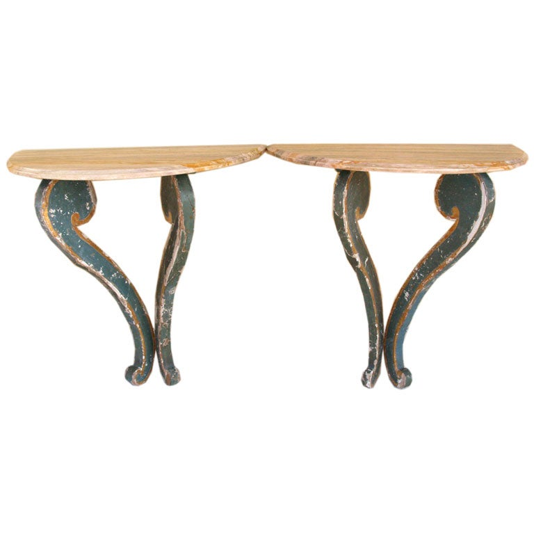 Pair Of Demi Lune Wall Mounted Console Tables At 1stdibs