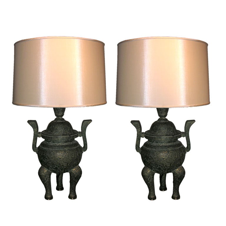 Pair of Classical Modern Table Lamps by James Mont For Sale