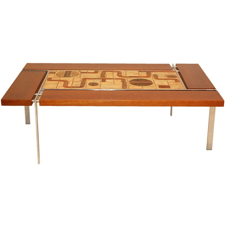 Tile Top Coffee Table Signed Sejer At 1stdibs