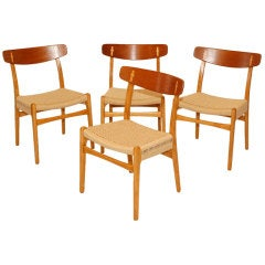 Set of 4 Hans Wegner CH-23 Dining Chairs