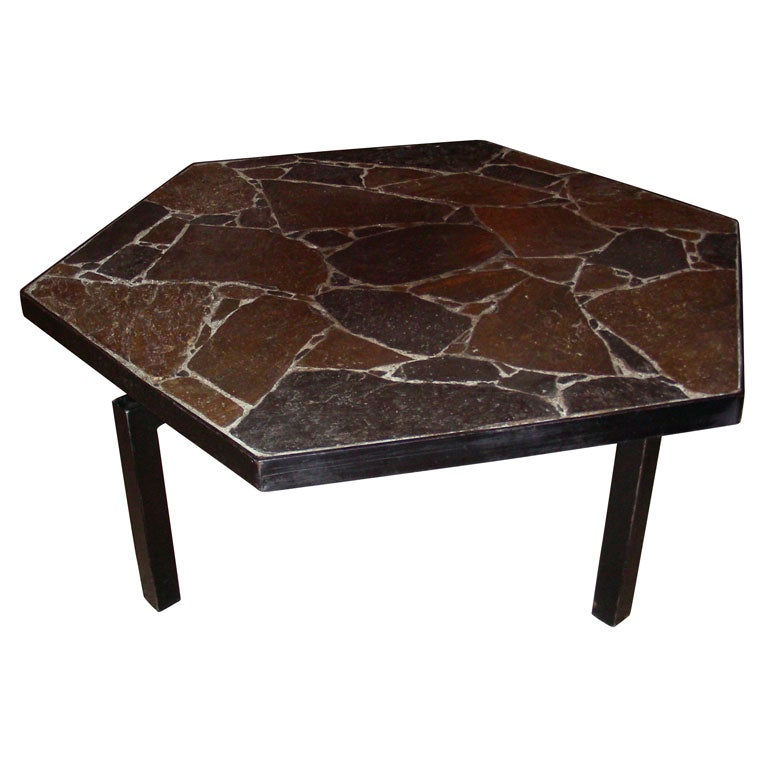 1960 Octagonal Coffee Table In Slate And Metal At 1stdibs