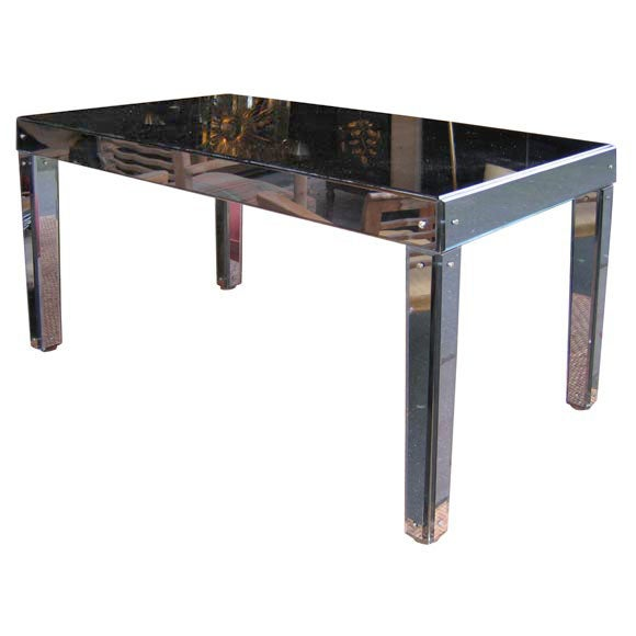 1940 Coffee Table Clad In Blue Mirror By Jacques Adnet At 1stdibs