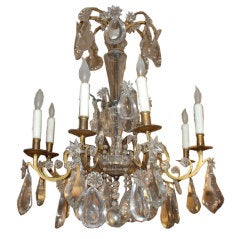 Period Eight-Light Bronze and Crystal Chandelier