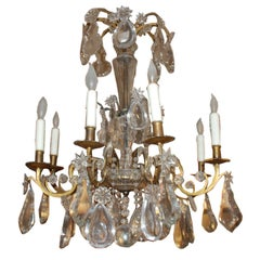 French Period Eight-Light Bronze and Crystal Chandelier