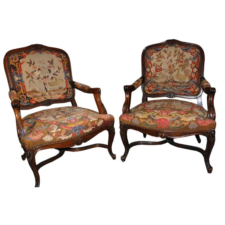 pair of regence style marquis fauteuils at 1stdibs. Black Bedroom Furniture Sets. Home Design Ideas