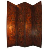 FOUR PANEL HAND PAINTED LEATHER SCREEN