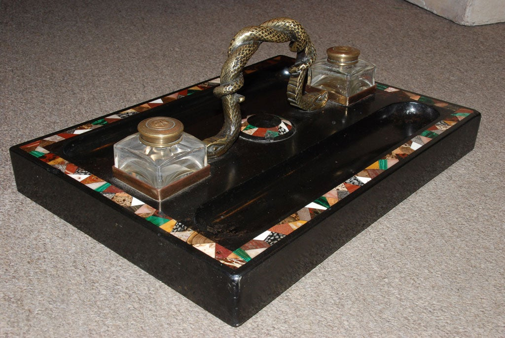 Regency Large Pietra Dura Inkstand with Malachite for a Partner's Desk For Sale